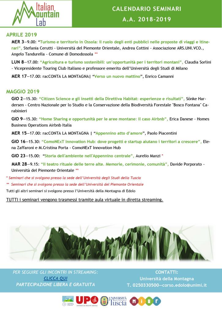 Calendario Unimi.Italian Mountain Lab Le Prossime Iniziative Di Formazione E